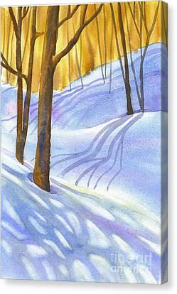 Snow-shadows Canvas Print by Nancy Newman