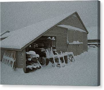 Snow Shed Canvas Print by Paul Barlo