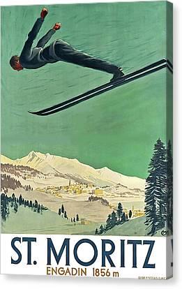 Swiss Canvas Print - Snow Ski, St. Moritz, Engadin by Thomas Pollart