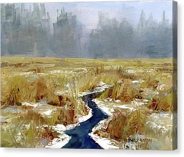 Snow Squall Canvas Print by Mary Byrom