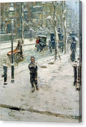 Childe Canvas Print - Snow Storm On Fifth Avenue by Childe Hassam
