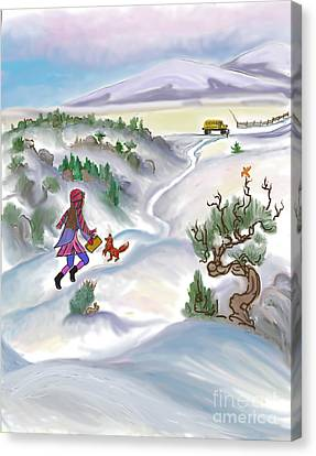 Snow Tang - Story Illustration 5 - Age 12 Canvas Print by Dawn Senior-Trask