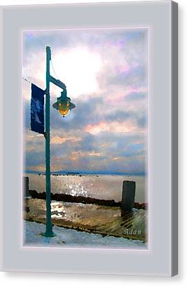 Canvas Print featuring the photograph Snow Waterfront Park Walk by Felipe Adan Lerma