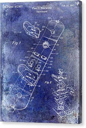 Snowboard Patent Drawing Blue Canvas Print