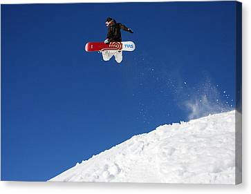 Snowboarder In Serre Chevalier France Canvas Print by Pierre Leclerc Photography