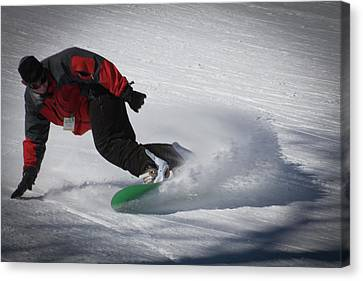 Canvas Print featuring the photograph Snowboarder On Mccauley by David Patterson