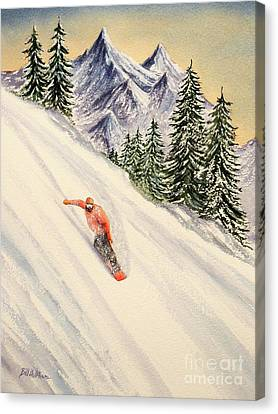 Canvas Print featuring the painting Snowboarding Free And Easy by Bill Holkham