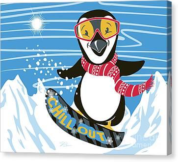 Snowboarding Canvas Print - Snowboarding Penguin by Shari Warren