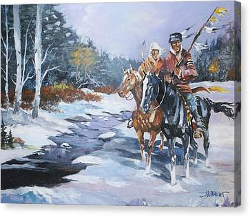 Snowbound Hunters Canvas Print by Al Brown