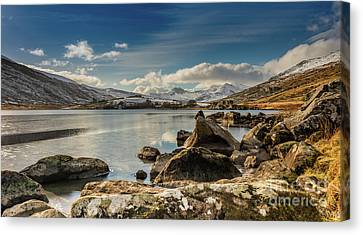 Canvas Print featuring the photograph Snowdon From Llynnau Mymbyr by Adrian Evans