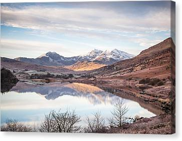 Wide Angled Glass Mirror Canvas Print - Snowdon Horseshoe Winter Reflections by Christine Smart