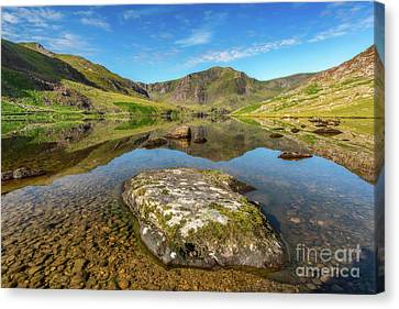 Cwm Idwal Canvas Print - Snowdonia Mountain Reflections by Adrian Evans