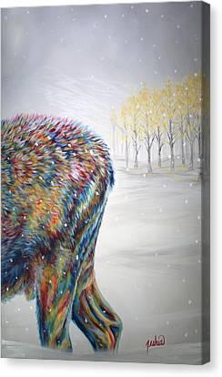 Snowdrifter Triptych Panel 3 Canvas Print by Teshia Art