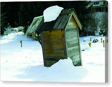Snowed In Outhouse Canvas Print by Jeff Swan