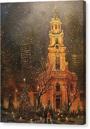 Snowfall In Cathedral Square - Milwaukee Canvas Print by Tom Shropshire