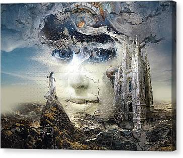 Floating Girl Canvas Print - Snowfall In Parallel Universe Or The One That Got Away by George Grie