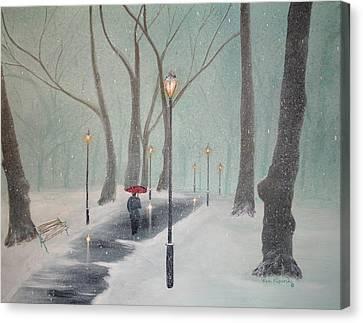Snowfall In The Park Canvas Print