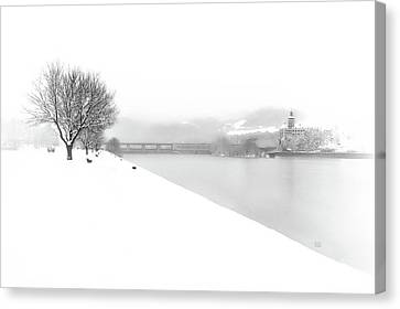 Snowfall On The River Danube At Ybbs Canvas Print