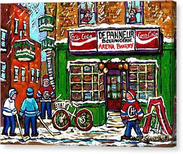 The Plateaus Canvas Print - Snowfall Street Hockey Arena Bakery Montreal Memories Coca Cola Sign Original Winter Scene For Sale by Carole Spandau