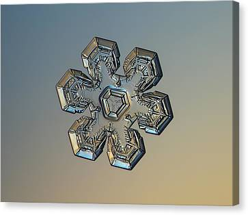 Canvas Print featuring the photograph Snowflake Photo - Massive Gold by Alexey Kljatov