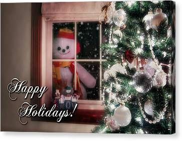 Snowman At The Window Card Canvas Print