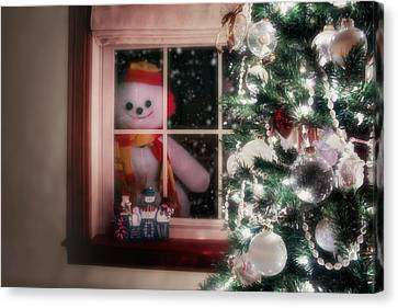 Snowman At The Window Canvas Print
