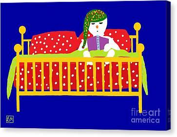 Snowman Bedtime Canvas Print by Barbara Moignard