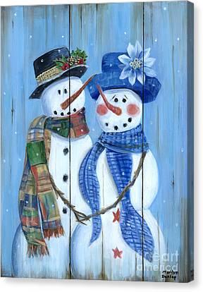 Canvas Print - Snowman Couple by Marilyn Dunlap