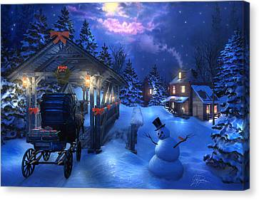 Horse And Buggy Canvas Print - Snowman Crossing by Joel Payne