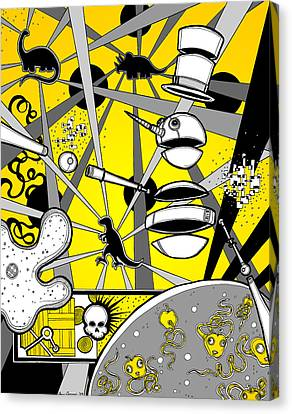 Creepy Canvas Print - Snowman Dino Disco Battle by Christopher Capozzi