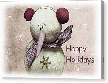 Snowman Greeting Card Canvas Print by David Dehner