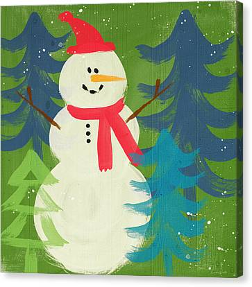 Snowman In Red Hat-art By Linda Woods Canvas Print by Linda Woods