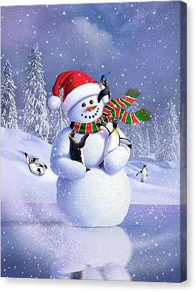 Snow-covered Landscape Canvas Print - Snowman by Jerry LoFaro