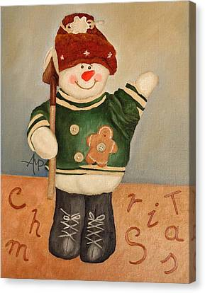 Snowman Junior Canvas Print by Angeles M Pomata