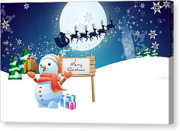 Snowman Merry Christmas Canvas Print by F S