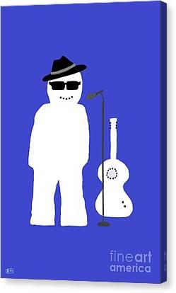 Snowman Musician Canvas Print by Barbara Moignard