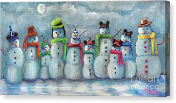 Snowman Parade Canvas Print by Marnie Bourque