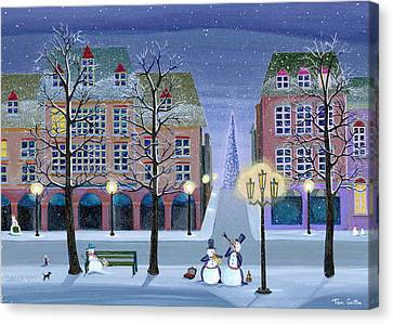 Snowman Street Musicians Canvas Print by Thomas Griffin