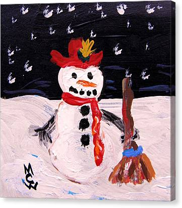 Canvas Print featuring the painting Snowman Under The Stars by Mary Carol Williams