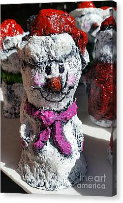 Snowman Pink Canvas Print by Vickie Scarlett-Fisher