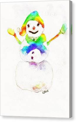 Canvas Print featuring the painting Snowman With Rainbow 1 by Claire Bull