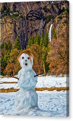 Snowman Yosemite Valley Canvas Print by Garry Gay