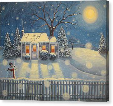 Snowman's Cottage Canvas Print by Mary Charles