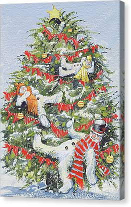 Snowmen In A Christmas Tree Canvas Print by David Cooke