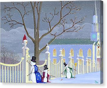 Snowmen In Vermont Canvas Print by Thomas Griffin