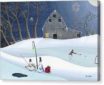 Snowmen On Hockey Pond Canvas Print by Thomas Griffin
