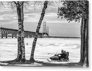 Canvas Print featuring the photograph Snowmobile Michigan Black And White  by John McGraw