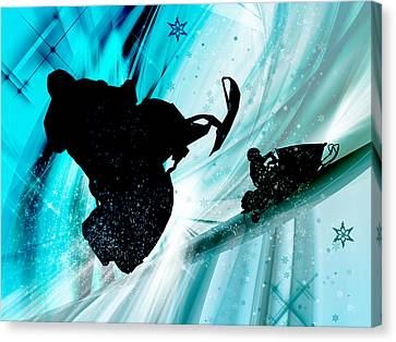 Snowmobiling On Icy Trails Canvas Print by Elaine Plesser