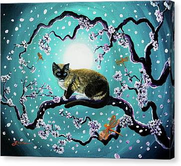 Snowshoe Cat And Dragonfly In Sakura Canvas Print