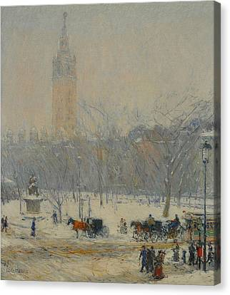 Snowstorm, Madison Square Canvas Print by Childe Hassam